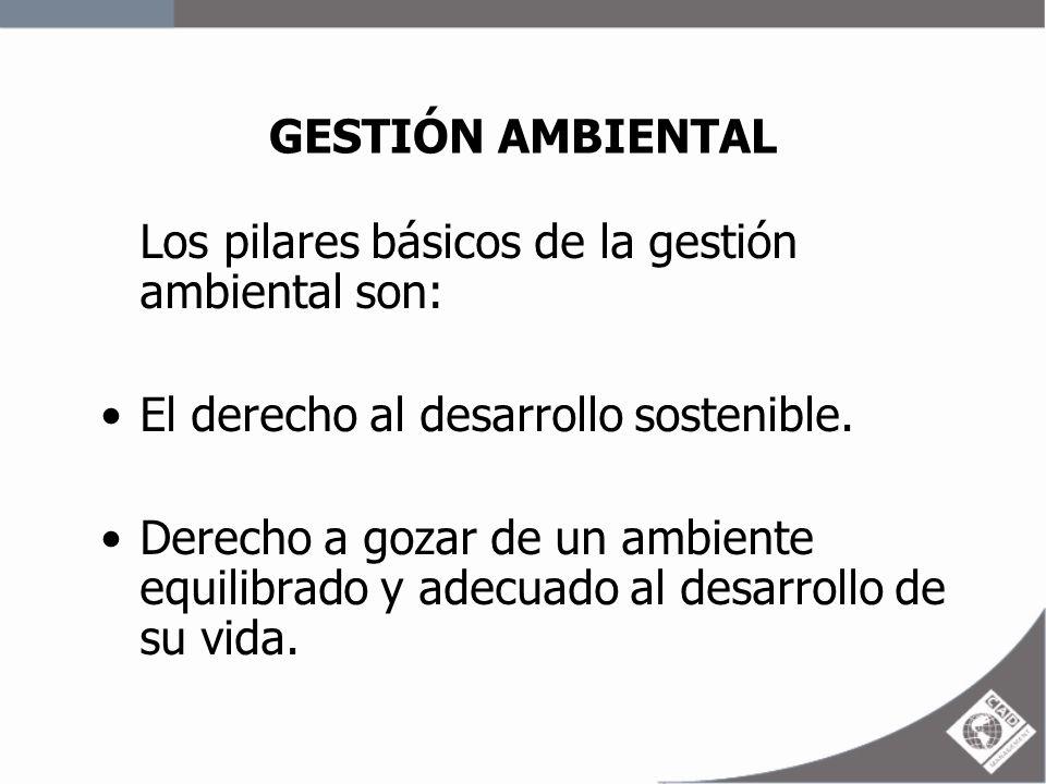 GESTIÓN AMBIENTAL Los pilares básicos de la gestión ambiental son: El derecho al desarrollo sostenible. Derecho a gozar de un ambiente equilibrado y a