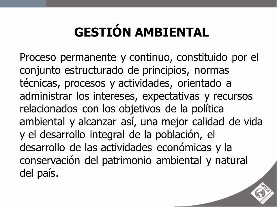 GESTIÓN AMBIENTAL Proceso permanente y continuo, constituido por el conjunto estructurado de principios, normas técnicas, procesos y actividades, orie