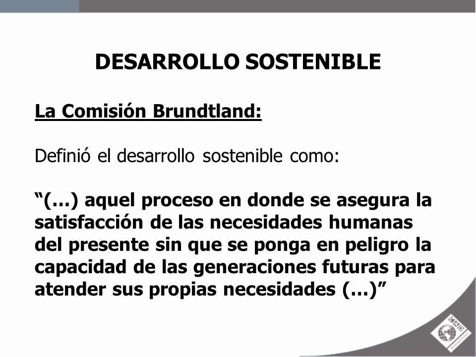 DESARROLLO SOSTENIBLE La Comisión Brundtland: Definió el desarrollo sostenible como: (…) aquel proceso en donde se asegura la satisfacción de las nece