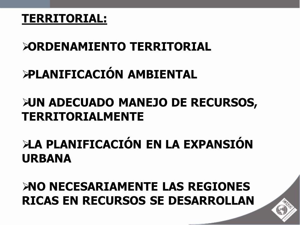 TERRITORIAL: ORDENAMIENTO TERRITORIAL PLANIFICACIÓN AMBIENTAL UN ADECUADO MANEJO DE RECURSOS, TERRITORIALMENTE LA PLANIFICACIÓN EN LA EXPANSIÓN URBANA