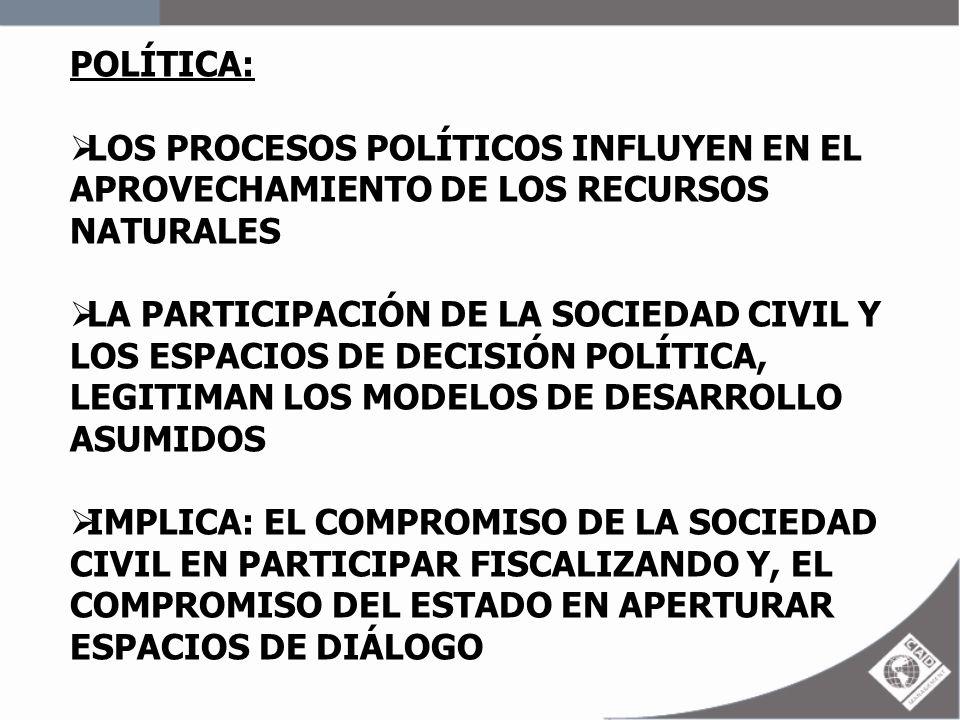 POLÍTICA: LOS PROCESOS POLÍTICOS INFLUYEN EN EL APROVECHAMIENTO DE LOS RECURSOS NATURALES LA PARTICIPACIÓN DE LA SOCIEDAD CIVIL Y LOS ESPACIOS DE DECI