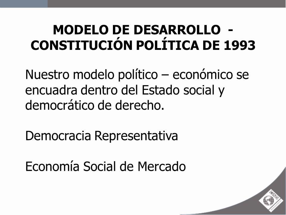 MODELO DE DESARROLLO - CONSTITUCIÓN POLÍTICA DE 1993 Nuestro modelo político – económico se encuadra dentro del Estado social y democrático de derecho