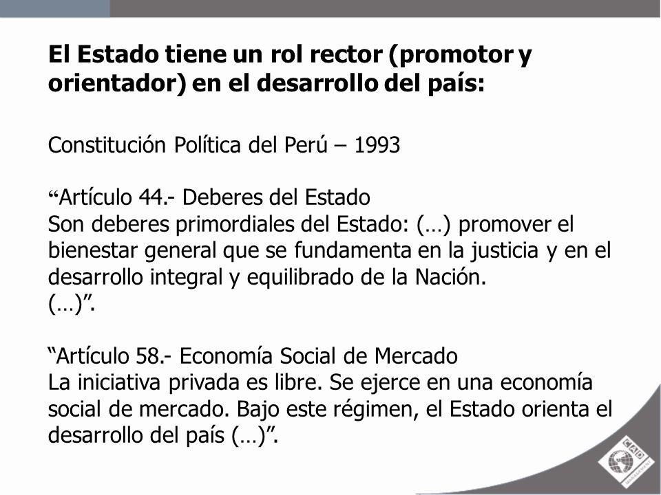 El Estado tiene un rol rector (promotor y orientador) en el desarrollo del país: Constitución Política del Perú – 1993 Artículo 44.- Deberes del Estad