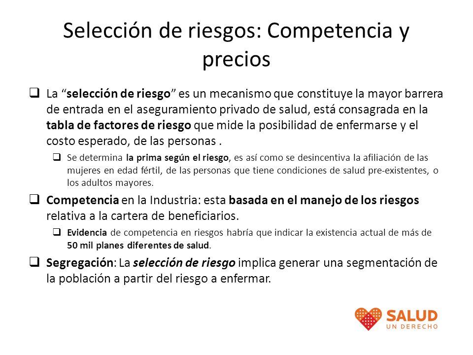 Selección de riesgos: Competencia y precios La selección de riesgo es un mecanismo que constituye la mayor barrera de entrada en el aseguramiento priv