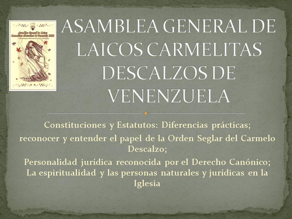 Constituciones y Estatutos: Diferencias prácticas; reconocer y entender el papel de la Orden Seglar del Carmelo Descalzo; Personalidad jurídica recono