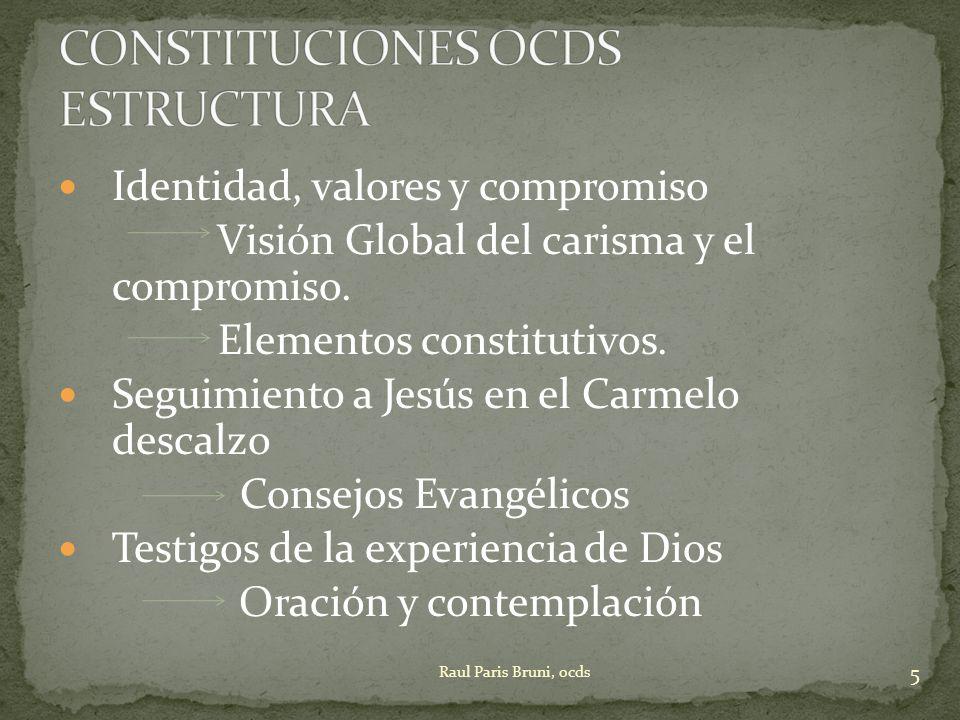 Identidad, valores y compromiso Visión Global del carisma y el compromiso. Elementos constitutivos. Seguimiento a Jesús en el Carmelo descalzo Consejo