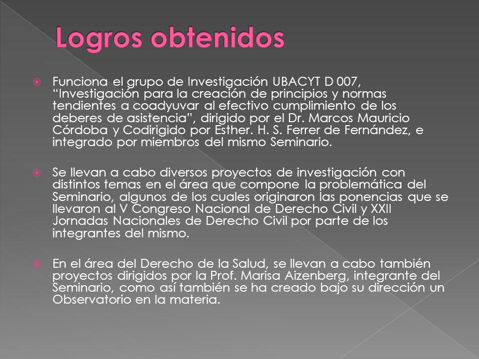 Funciona el grupo de Investigación UBACYT D 007, Investigación para la creación de principios y normas tendientes a coadyuvar al efectivo cumplimiento de los deberes de asistencia, dirigido por el Dr.