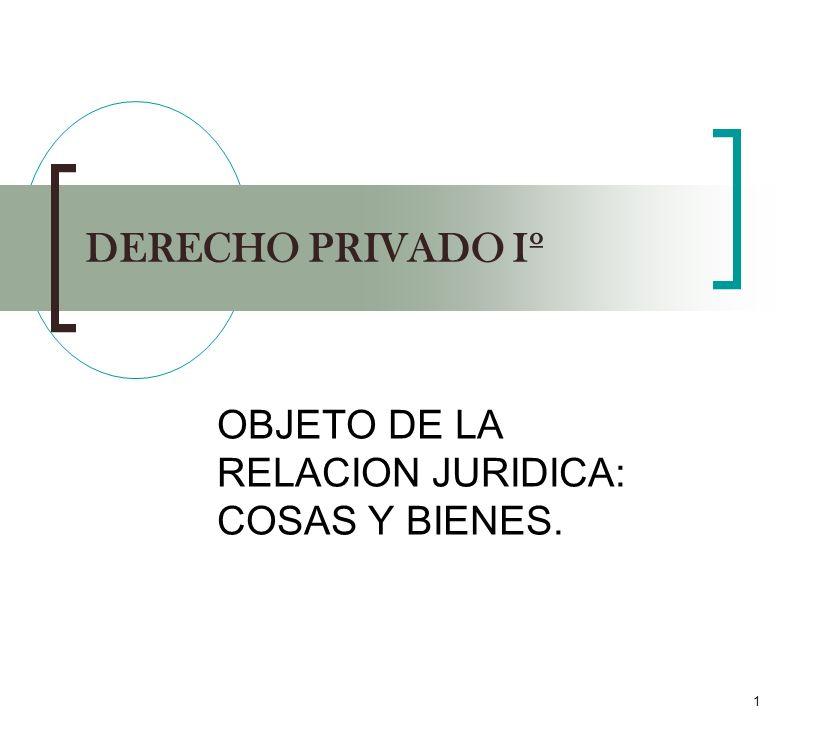 1 DERECHO PRIVADO Iº OBJETO DE LA RELACION JURIDICA: COSAS Y BIENES.