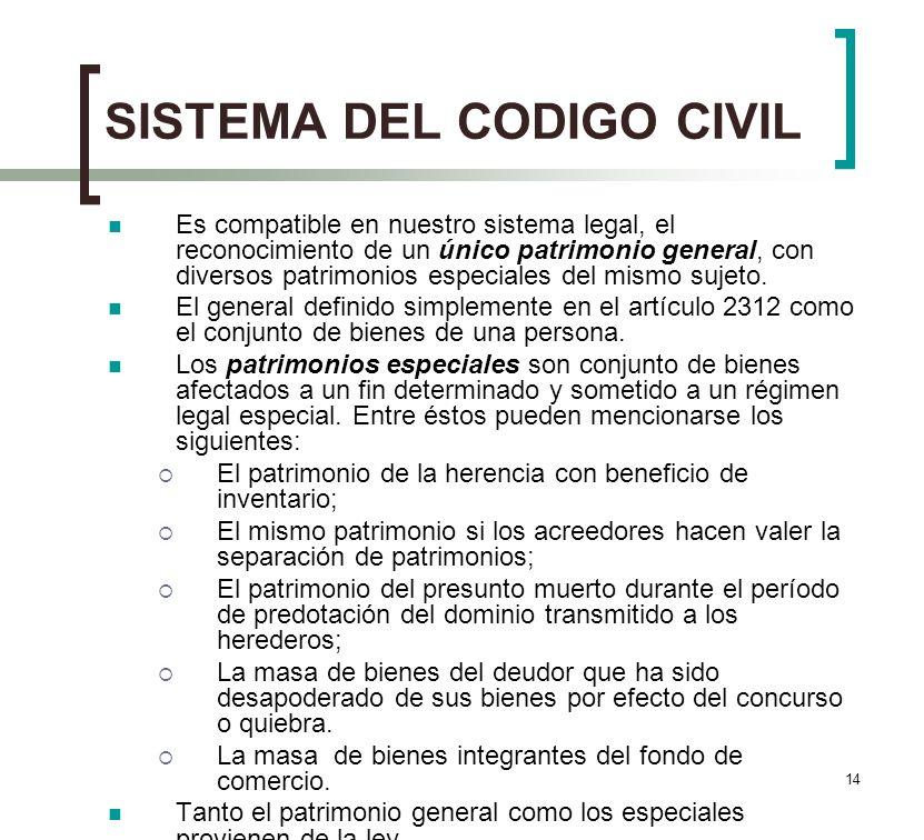 14 SISTEMA DEL CODIGO CIVIL Es compatible en nuestro sistema legal, el reconocimiento de un único patrimonio general, con diversos patrimonios especia