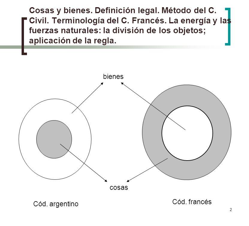 2 Cosas y bienes. Definición legal. Método del C. Civil. Terminología del C. Francés. La energía y las fuerzas naturales: la división de los objetos;