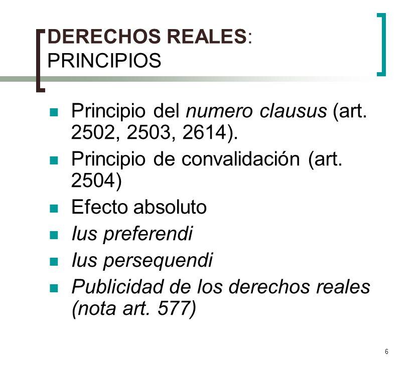6 DERECHOS REALES: PRINCIPIOS Principio del numero clausus (art. 2502, 2503, 2614). Principio de convalidación (art. 2504) Efecto absoluto Ius prefere