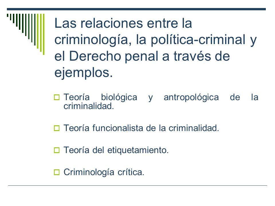 Las relaciones entre la criminología, la política-criminal y el Derecho penal a través de ejemplos. Teoría biológica y antropológica de la criminalida