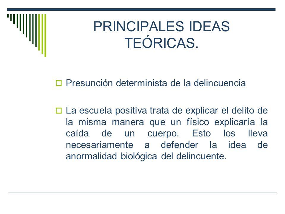 PRINCIPALES IDEAS TEÓRICAS. Presunción determinista de la delincuencia La escuela positiva trata de explicar el delito de la misma manera que un físic