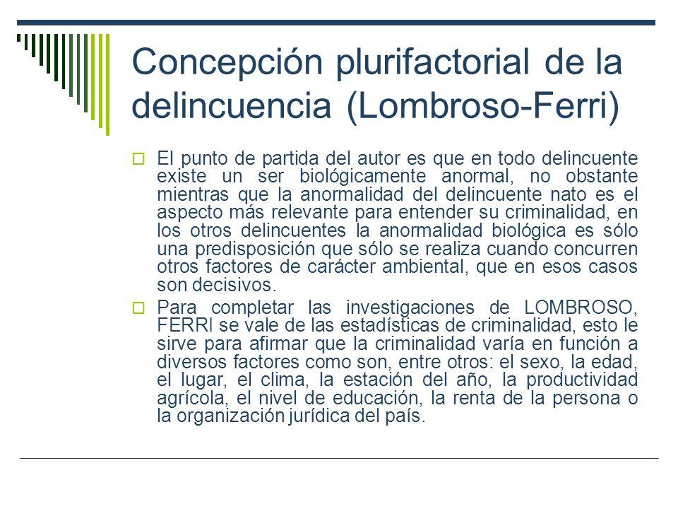 Concepción plurifactorial de la delincuencia (Lombroso-Ferri) El punto de partida del autor es que en todo delincuente existe un ser biológicamente an