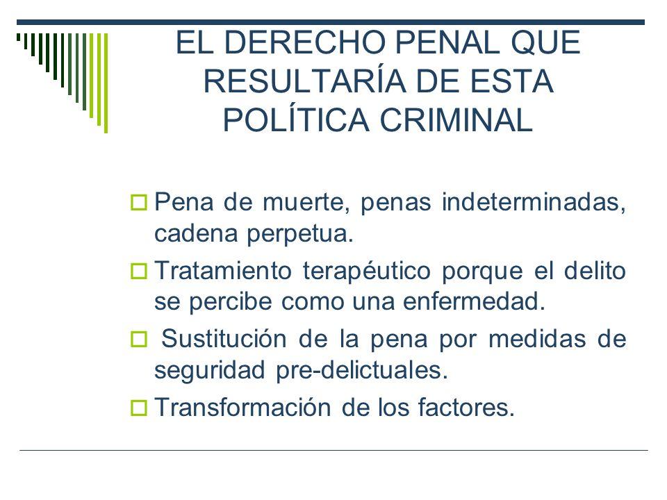 EL DERECHO PENAL QUE RESULTARÍA DE ESTA POLÍTICA CRIMINAL Pena de muerte, penas indeterminadas, cadena perpetua. Tratamiento terapéutico porque el del