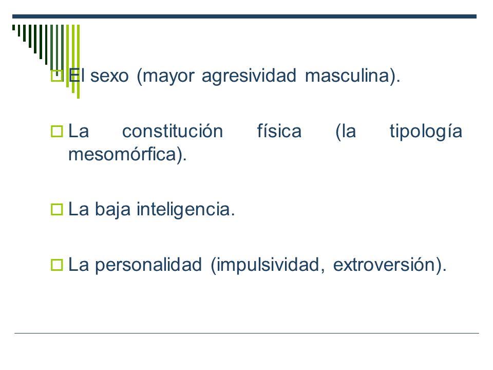 El sexo (mayor agresividad masculina). La constitución física (la tipología mesomórfica). La baja inteligencia. La personalidad (impulsividad, extrove