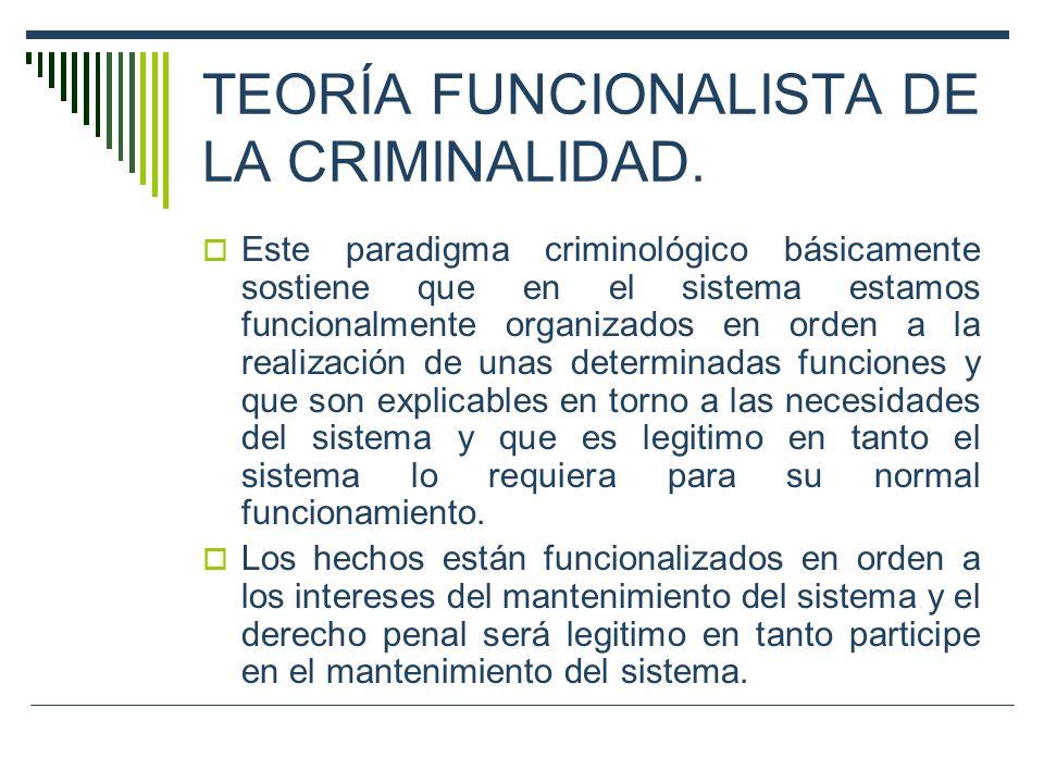 TEORÍA FUNCIONALISTA DE LA CRIMINALIDAD. Este paradigma criminológico básicamente sostiene que en el sistema estamos funcionalmente organizados en ord