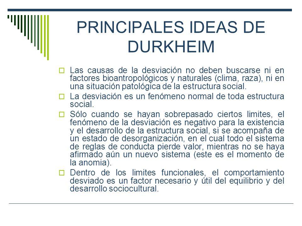 PRINCIPALES IDEAS DE DURKHEIM Las causas de la desviación no deben buscarse ni en factores bioantropológicos y naturales (clima, raza), ni en una situ