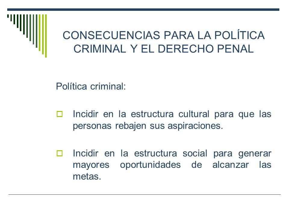 CONSECUENCIAS PARA LA POLÍTICA CRIMINAL Y EL DERECHO PENAL Política criminal: Incidir en la estructura cultural para que las personas rebajen sus aspi