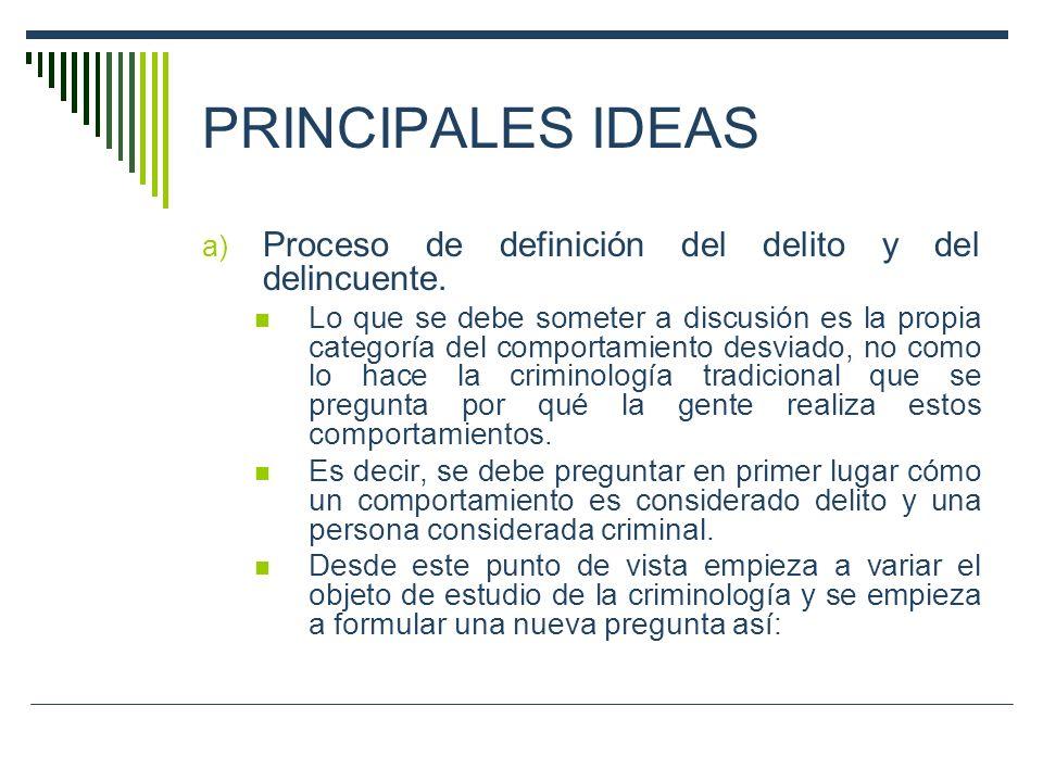 PRINCIPALES IDEAS a) Proceso de definición del delito y del delincuente. Lo que se debe someter a discusión es la propia categoría del comportamiento