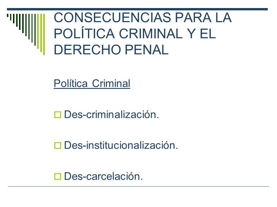 CONSECUENCIAS PARA LA POLÍTICA CRIMINAL Y EL DERECHO PENAL Política Criminal Des-criminalización. Des-institucionalización. Des-carcelación.