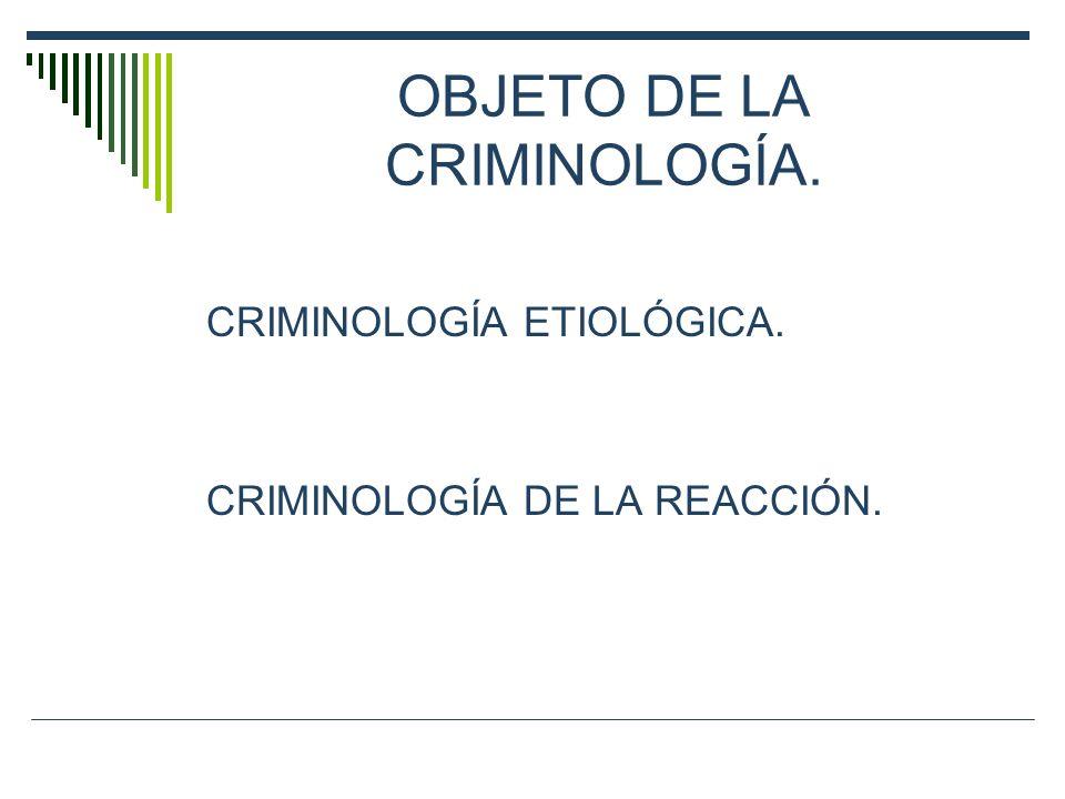 OBJETO DE LA CRIMINOLOGÍA. CRIMINOLOGÍA ETIOLÓGICA. CRIMINOLOGÍA DE LA REACCIÓN.