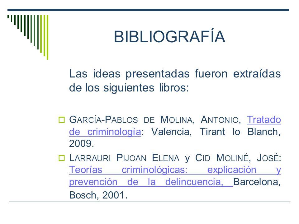 BIBLIOGRAFÍA Las ideas presentadas fueron extraídas de los siguientes libros: G ARCÍA -P ABLOS DE M OLINA, A NTONIO, Tratado de criminología: Valencia
