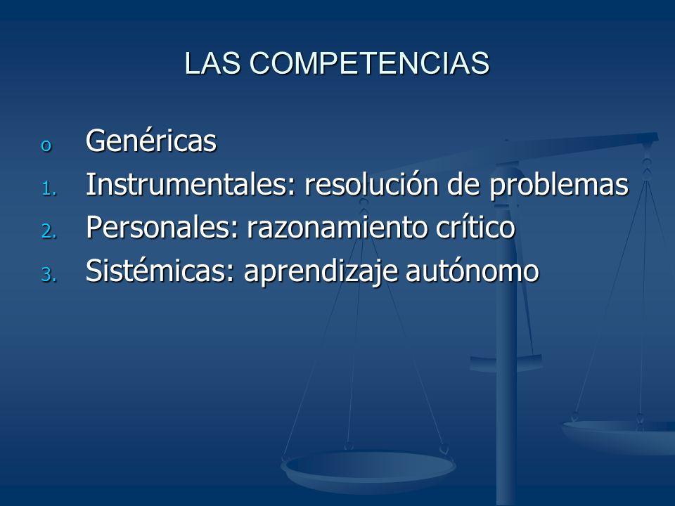 LAS COMPETENCIAS o Genéricas 1. Instrumentales: resolución de problemas 2.