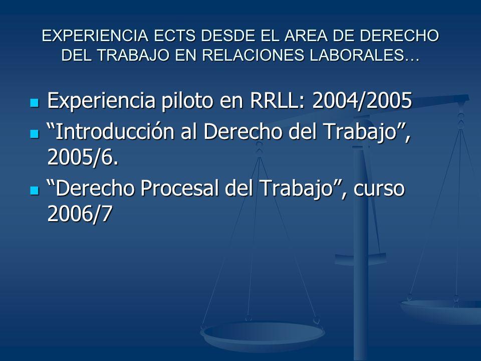 EXPERIENCIA ECTS DESDE EL AREA DE DERECHO DEL TRABAJO EN RELACIONES LABORALES… Experiencia piloto en RRLL: 2004/2005 Experiencia piloto en RRLL: 2004/2005 Introducción al Derecho del Trabajo, 2005/6.