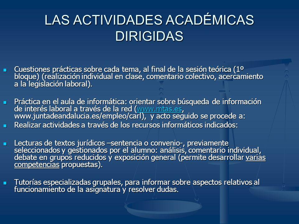LAS ACTIVIDADES ACADÉMICAS DIRIGIDAS Cuestiones prácticas sobre cada tema, al final de la sesión teórica (1º bloque) (realización individual en clase, comentario colectivo, acercamiento a la legislación laboral).