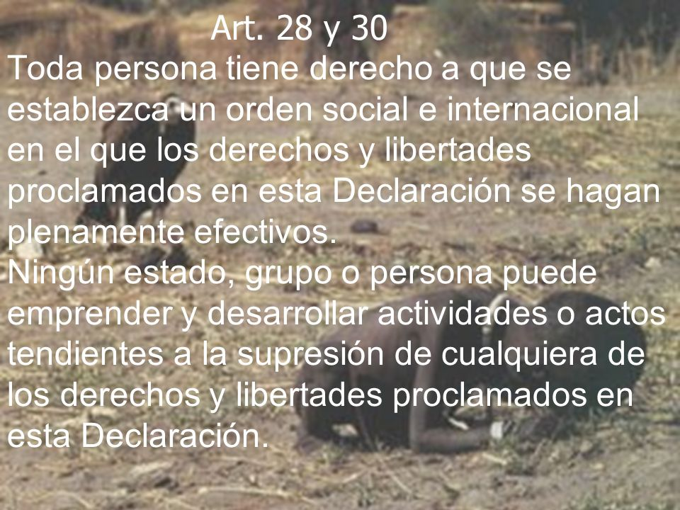 Art. 28 y 30 Toda persona tiene derecho a que se establezca un orden social e internacional en el que los derechos y libertades proclamados en esta De