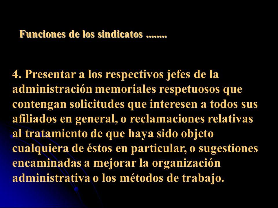 Funciones de los sindicatos de Empleados Públicos 1.
