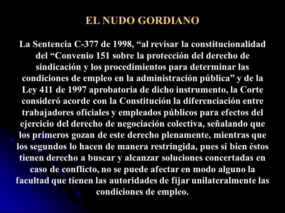 Ratificación del Convenio 151 de la OIT: Mediante Ley 411 de 1997 se ratificó el Convenio 151 de la OIT, sin embargo, pese a que el Artículo 53 de la CP dispone que los convenios del trabajo debidamente ratificados forman parte de la legislación interna, ´su aplicación se ha negado bajo el supuesto que requiere reglamentación