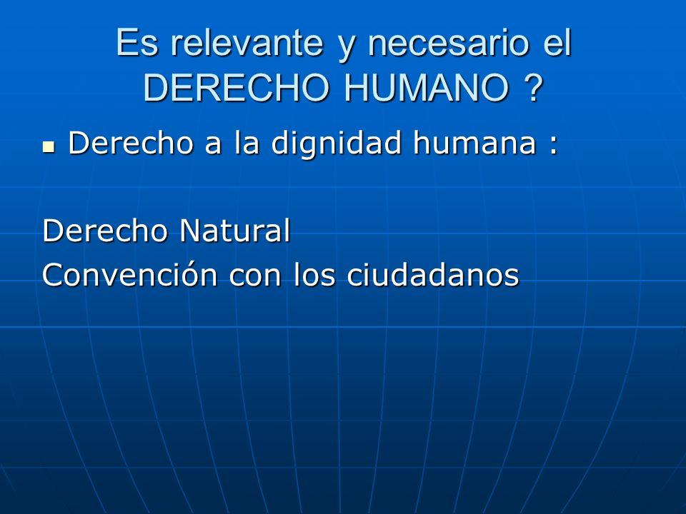 Es relevante y necesario el DERECHO HUMANO .