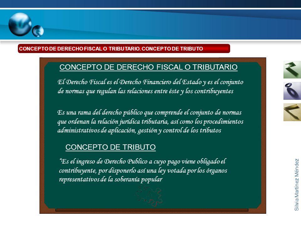 Silvia Martínez Méndez El Derecho Fiscal es el Derecho Financiero del Estado y es el conjunto de normas que regulan las relaciones entre éste y los co