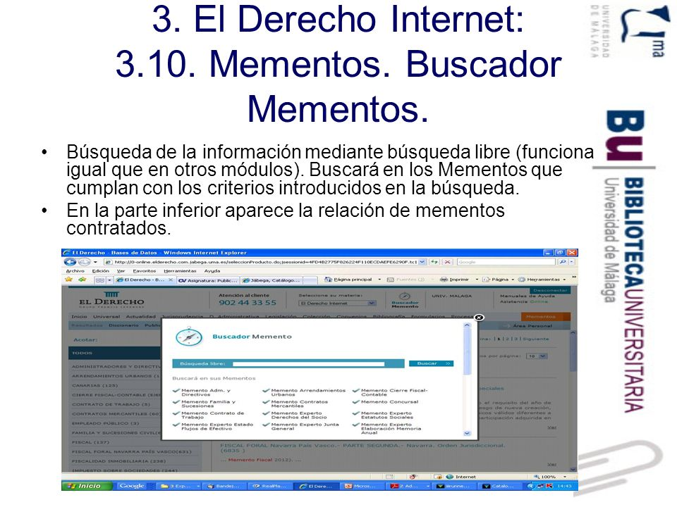 3.El Derecho Internet: 3.10. Mementos. Biblioteca Mementos.