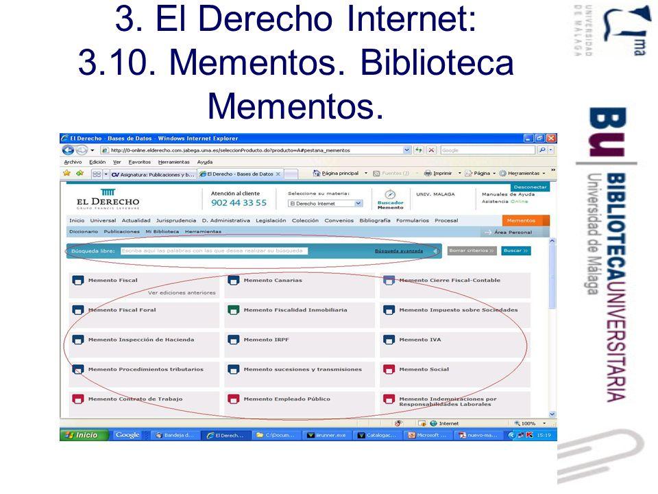 3.El Derecho Internet: 3.10. Mementos. Pantalla de resultados.
