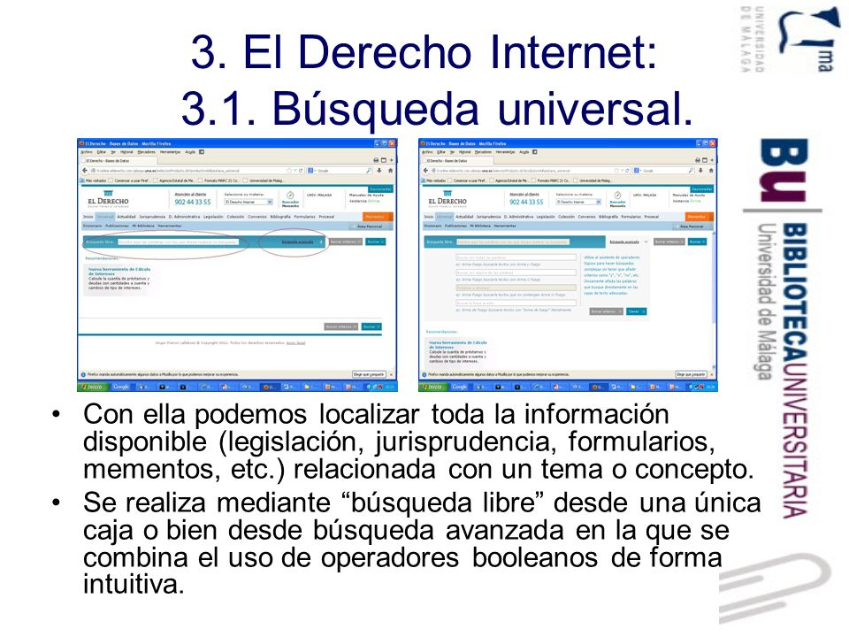 3.El Derecho Internet: 3.1. Búsqueda universal. Pantalla de resultados.
