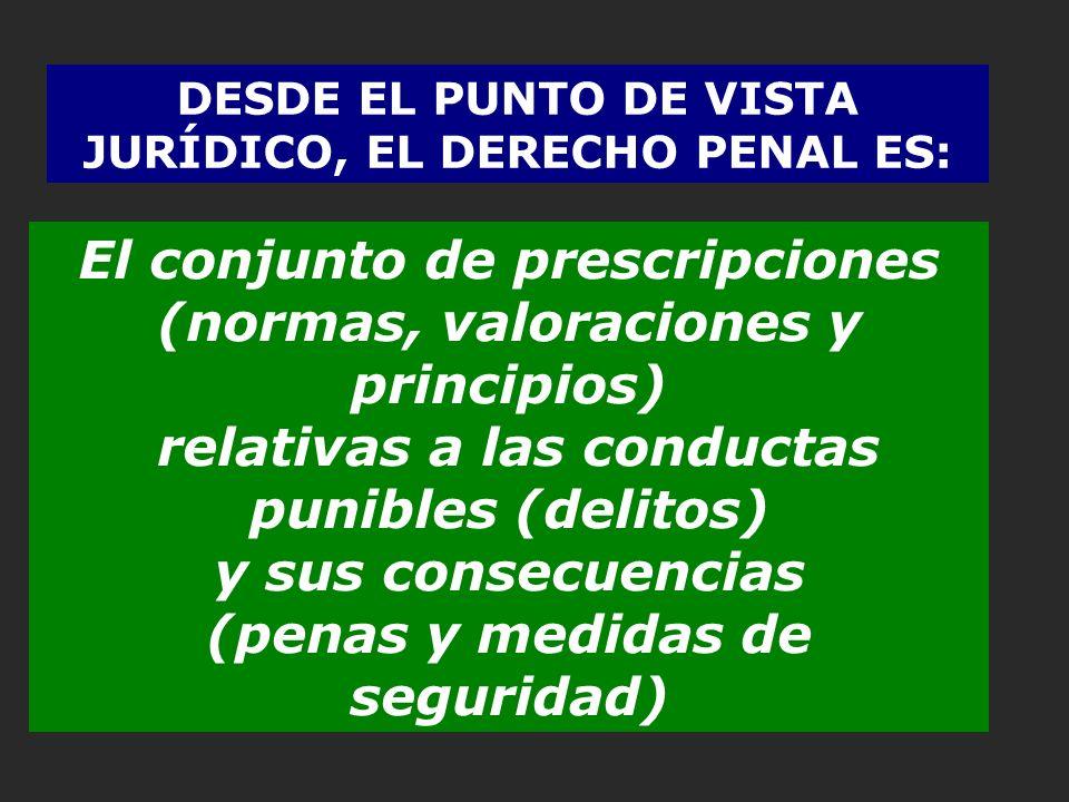 DESDE EL PUNTO DE VISTA JURÍDICO, EL DERECHO PENAL ES: El conjunto de prescripciones (normas, valoraciones y principios) relativas a las conductas pun