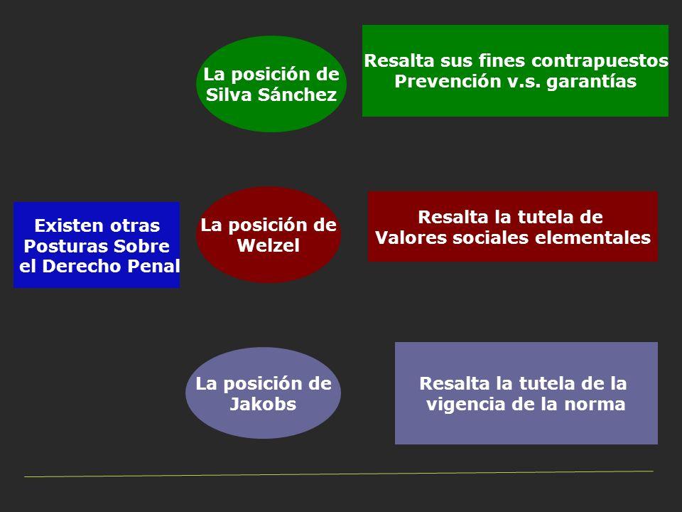 Existen otras Posturas Sobre el Derecho Penal La posición de Silva Sánchez La posición de Welzel La posición de Jakobs Resalta sus fines contrapuestos