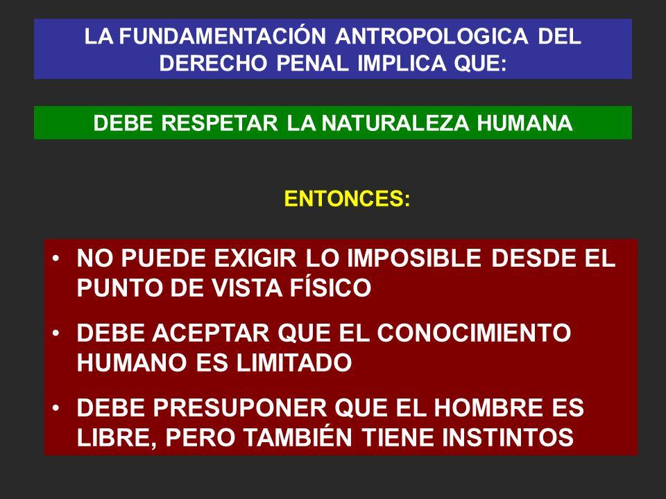 LA FUNDAMENTACIÓN ANTROPOLOGICA DEL DERECHO PENAL IMPLICA QUE: DEBE RESPETAR LA NATURALEZA HUMANA ENTONCES: NO PUEDE EXIGIR LO IMPOSIBLE DESDE EL PUNT