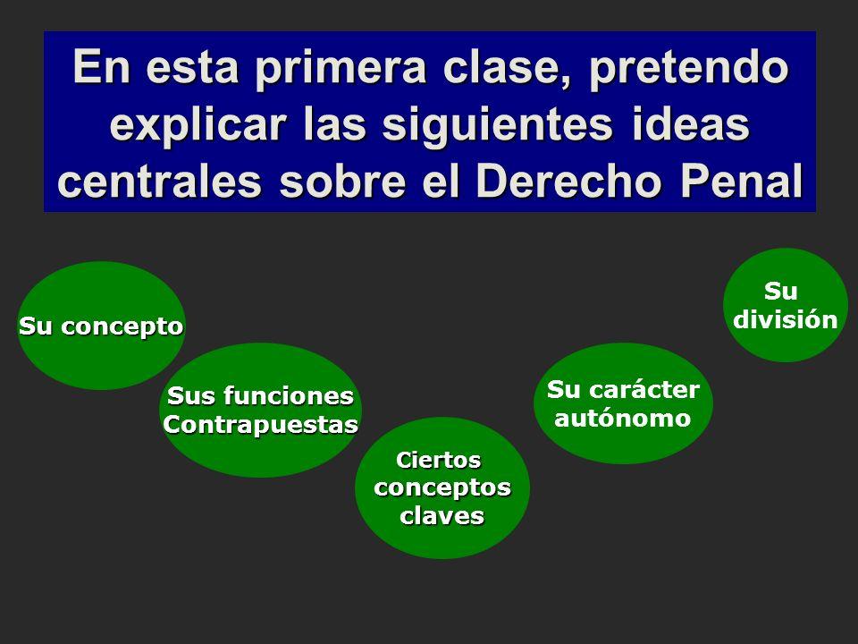 En esta primera clase, pretendo explicar las siguientes ideas centrales sobre el Derecho Penal Su concepto Sus funciones Contrapuestas Ciertosconcepto