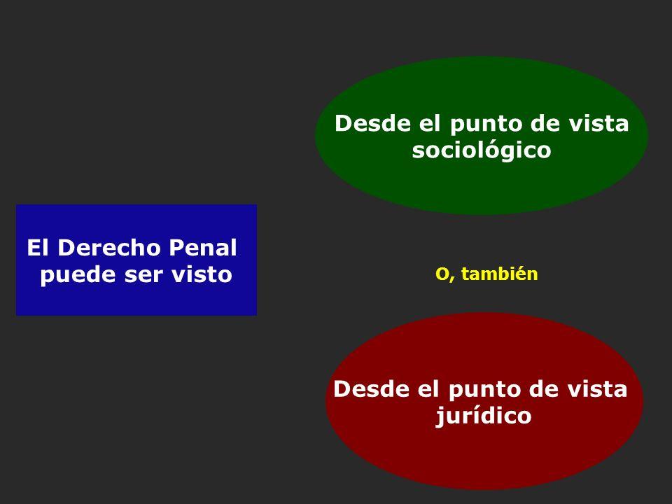 El Derecho Penal puede ser visto Desde el punto de vista sociológico Desde el punto de vista jurídico O, también