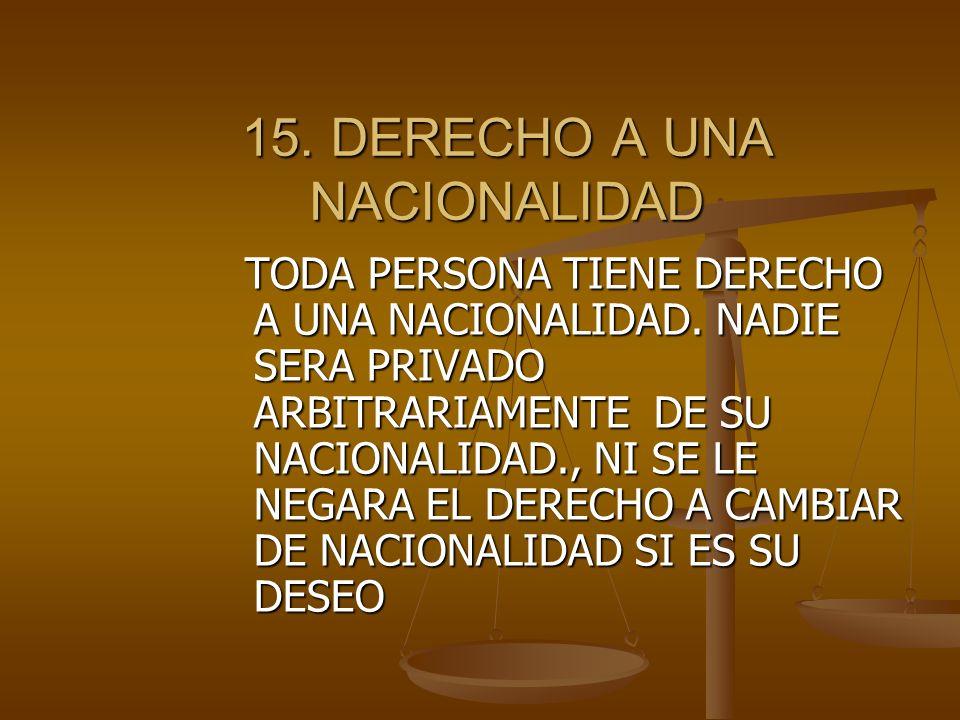 15.DERECHO A UNA NACIONALIDAD TODA PERSONA TIENE DERECHO A UNA NACIONALIDAD.