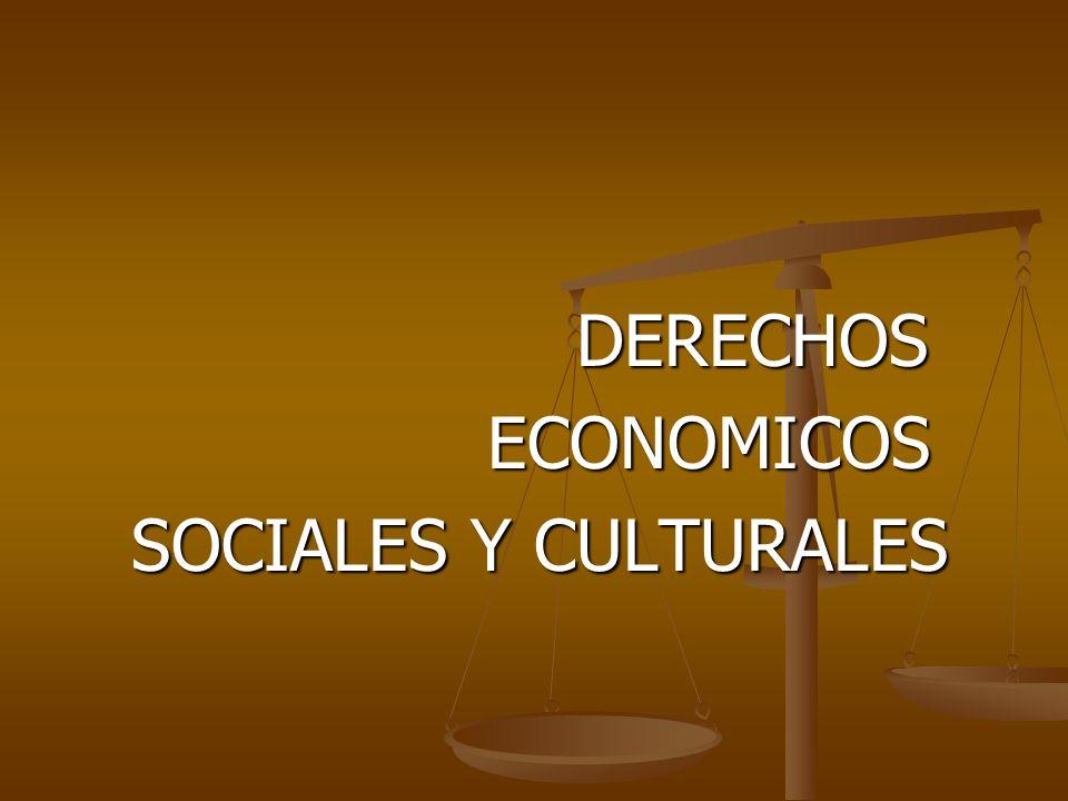 DERECHOS DERECHOS ECONOMICOS ECONOMICOS SOCIALES Y CULTURALES SOCIALES Y CULTURALES