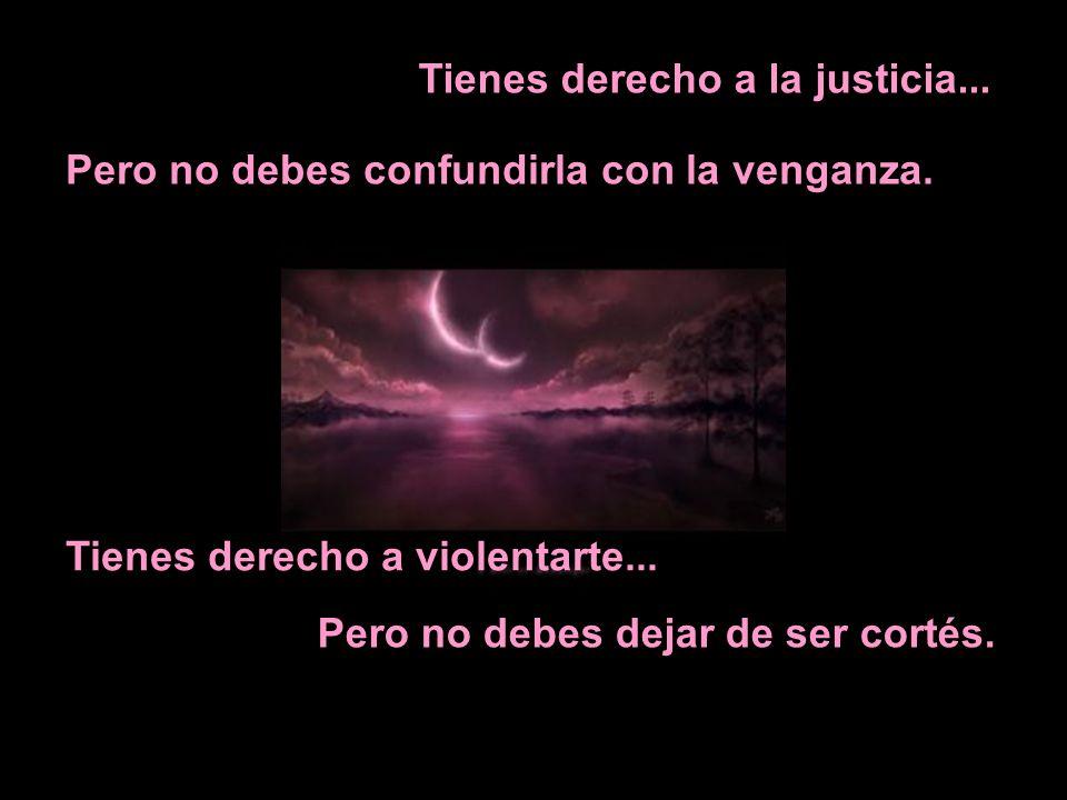 Tienes derecho a la justicia... Pero no debes confundirla con la venganza. Tienes derecho a violentarte... Pero no debes dejar de ser cortés.
