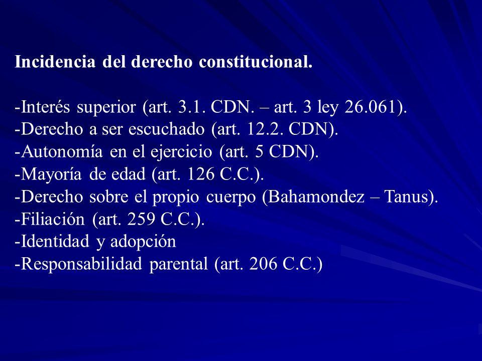 Incidencia del derecho constitucional. -Interés superior (art. 3.1. CDN. – art. 3 ley 26.061). -Derecho a ser escuchado (art. 12.2. CDN). -Autonomía e