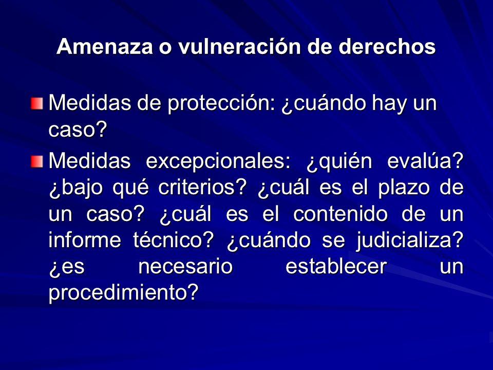Amenaza o vulneración de derechos Medidas de protección: ¿cuándo hay un caso? Medidas excepcionales: ¿quién evalúa? ¿bajo qué criterios? ¿cuál es el p