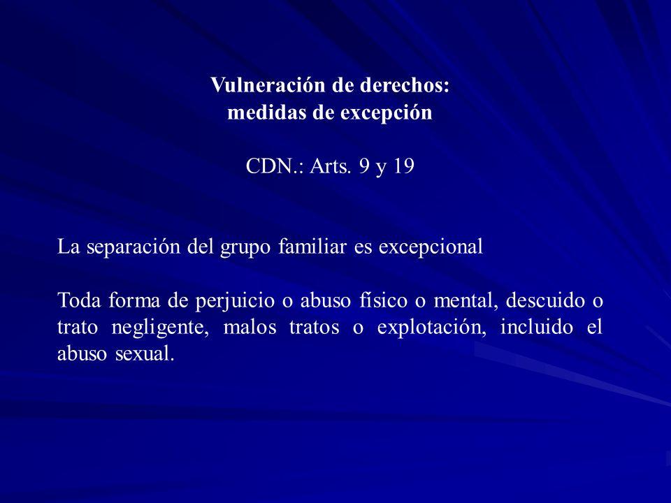 Vulneración de derechos: medidas de excepción CDN.: Arts. 9 y 19 La separación del grupo familiar es excepcional Toda forma de perjuicio o abuso físic