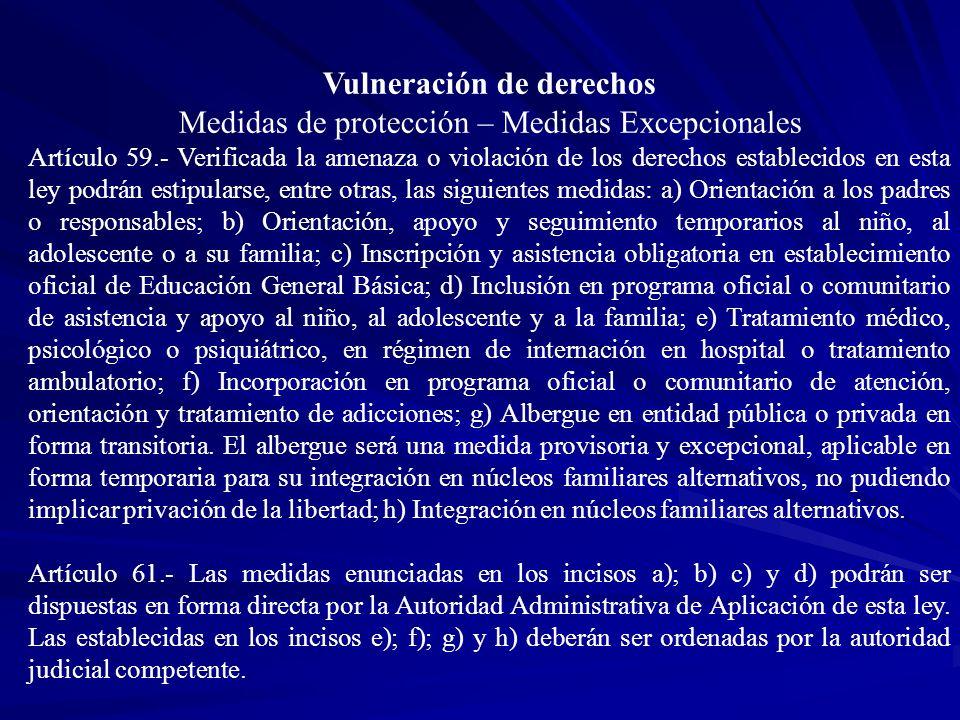 Vulneración de derechos Medidas de protección – Medidas Excepcionales Artículo 59.- Verificada la amenaza o violación de los derechos establecidos en